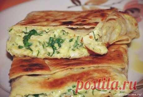 Очень вкусный и простой рецепт. Пирог из лаваша с сыром и зеленью
