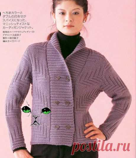 Идеальные японские узоры для стильных жакетов + новый мастер-класс.  Жакет из твида в «Елочку», итальянский набор.