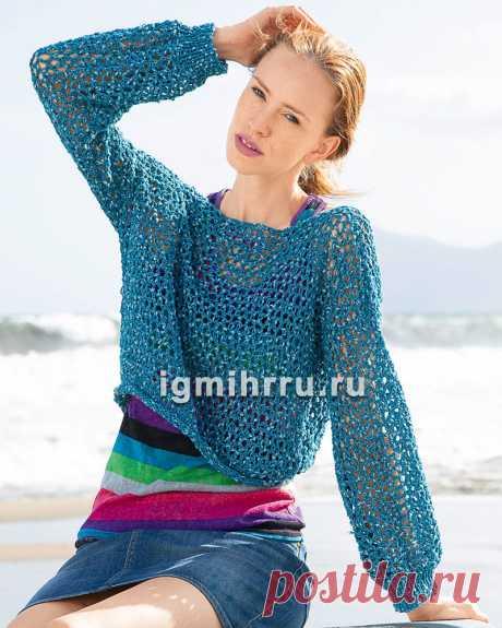 Короткий сетчатый пуловер. Вязание крючком со схемами и описанием
