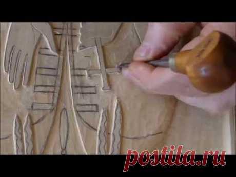 Резьба по дереву - резная икона (процесс резьбы) Xatis amokveta