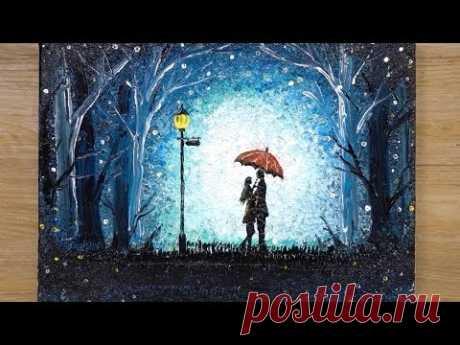 How to draw a Romantic Couple under umbrella / Aluminum painting technique - YouTube