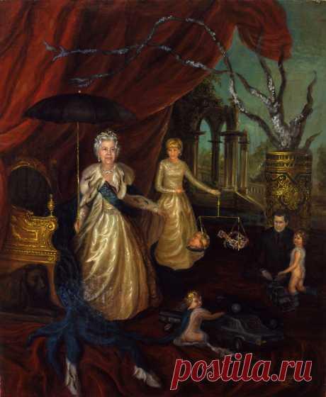 Серия из 7 картин о принцессе Диане. Заговор. холст,масло. 50х60см.