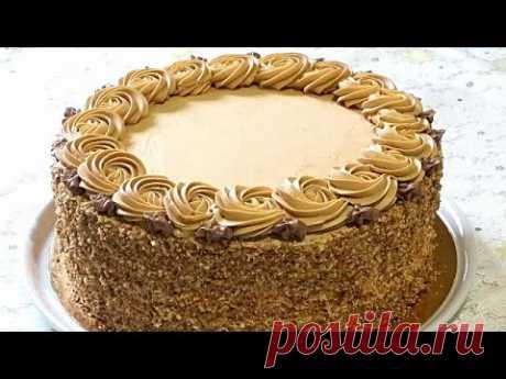 Бисквитный торт с БЕЗЕ и кремом СО СГУЩЁНКОЙ. /Cake with meringue.