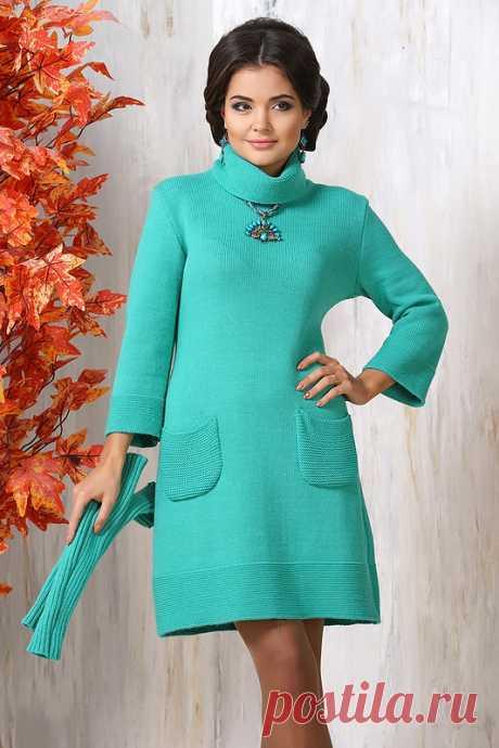 a7524f0747f Трикотажное платье бирюзового оттенка купить за 4 000 р. в интернет  магазине Modamio