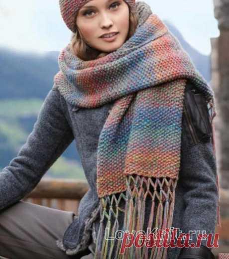 Шапка и длинный шарф с кистями схема спицами » Люблю Вязать