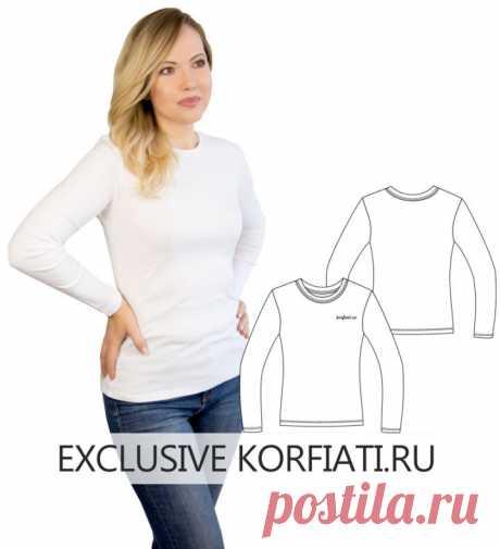 Выкройка футболки с длинным рукавом для скачивания от Корфиати