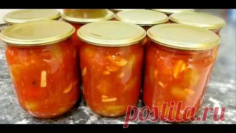 Ингредиенты: томат 4 л. болгарский перец 3 кг. раст. масло 1 ст. (250 мл) сахар 1 ст. (250 гр.) соль 2 ст.л. без горки перец горошком черный, душистый чеснок...