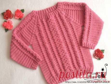 Детский свитер с косами крючком На размер 104-110 см