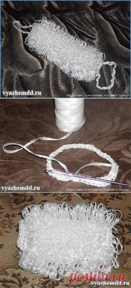 Мочалка с вытянутыми петлями