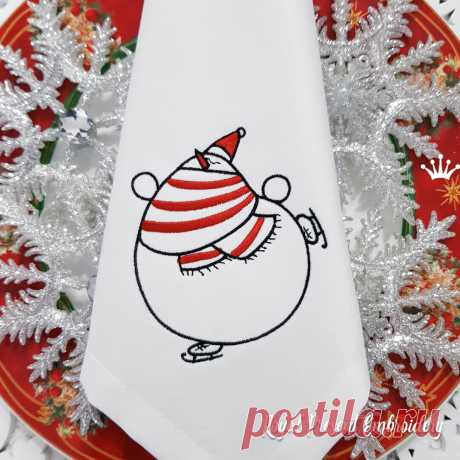Снеговик на коньках Дизайн машинной вышивки
