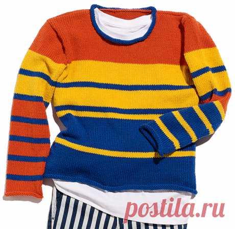 Детский джемпер в полоску - схема вязания спицами с описанием на Verena.ru