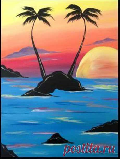 Красивый и простой рисунок с пальмами — Поделки с детьми