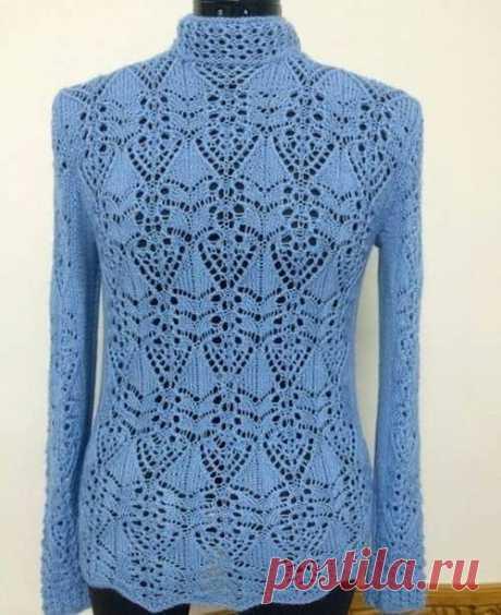 Японский ажур спицами. Схемы для пуловера из категории Интересные идеи – Вязаные идеи, идеи для вязания