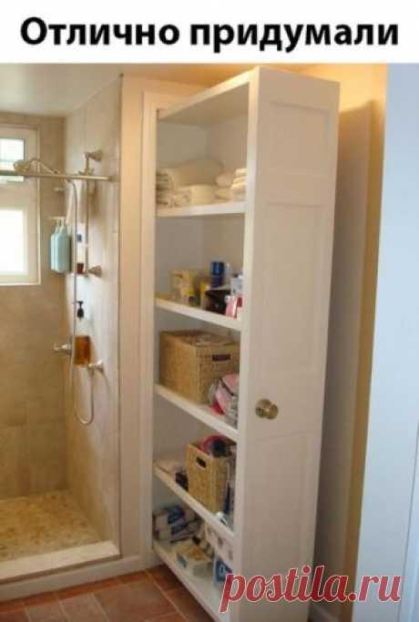Идея выдвижного шкафчика для ванной комнаты