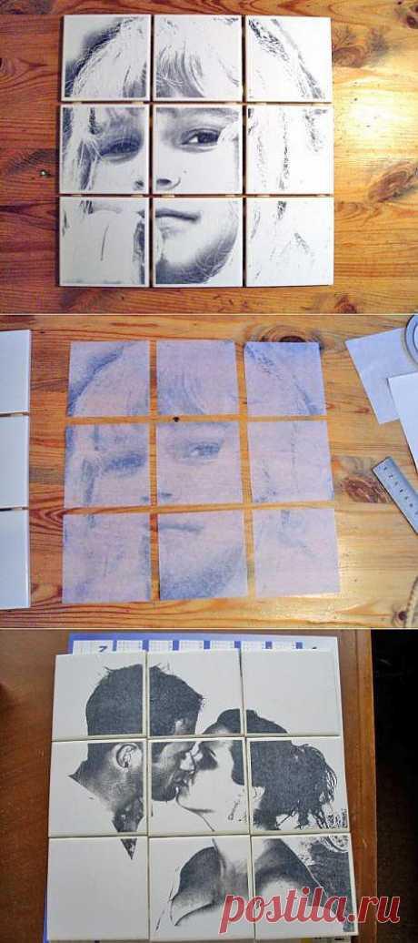 Декупаж кафельной плитки.. В домашних условиях довольно просто сделать подобные картинки. Огромный плюс в том, что рисунок можно выбрать по своему желанию и второго такого не будет.