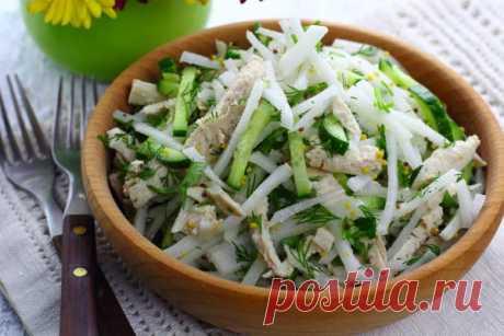 Салат с дайконом и огурцом - Mir Cooking