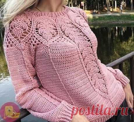 Ажурная кокетка для пуловера или топа