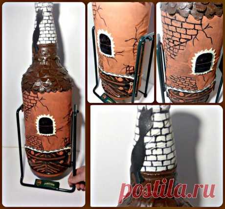 Большая бутылочка! Выполнено из натуральной кожи! Башня!