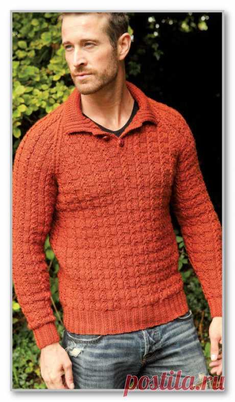 Вязание спицами. Описание мужской модели со схемой и выкройкой. Пуловер-поло с рукавами реглан и рельефным узором. Размер 42/44(46/48-62/64)