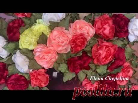 Розы из лент. Вышиваем розы лентами. Мастер класс для начинающих.