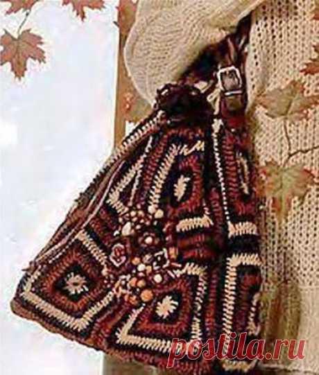 Сумка в стиле бохо с бусинами бабушкиным квадратом крючком – схема с описанием вязания