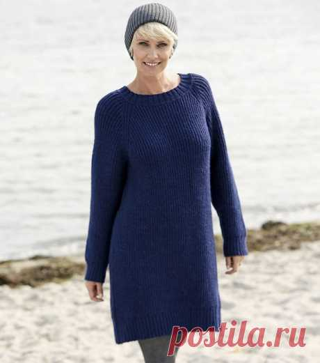 Blue dress tunic with sleeves a raglan