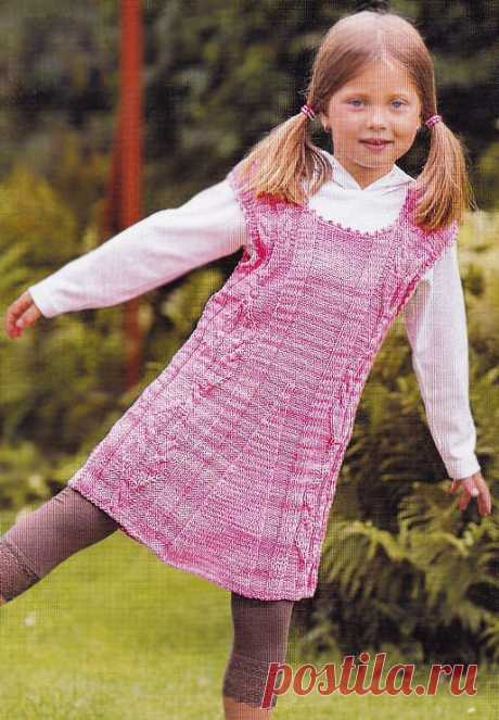 EYELET TO the EYELET. A sundress for the girl \u000d\u000aAge: 5-7 years.\u000d\u000aIt will be required to you: 400 g of a melange yarn of pink color (60% cotton, 40% polyacryle, 50 g \/ 155 m). spokes No. 2,0, hook No. 2,5.\u000d\u000aKnitting density: 10 x 10 cm = 22 items x 33 rubles.\u000d\u000aPatterns: o …