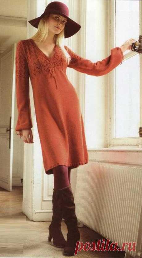Платье с ажурной кокеткой в стиле 70-х схема
