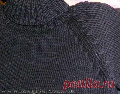 Оформление линии реглана при вязании спицами (МК от Leksa)
