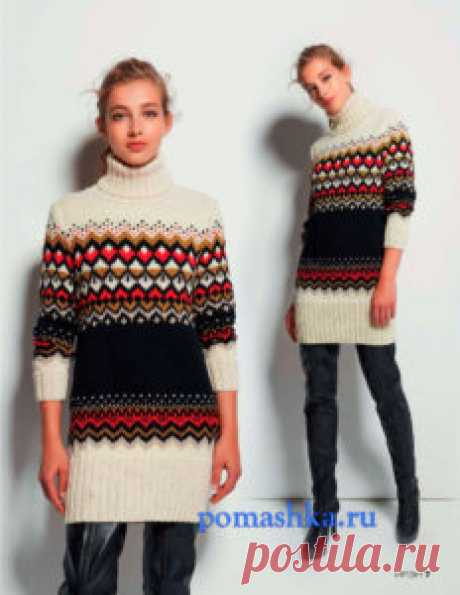 Пуловер с жаккардовым узором на спицах описание вязания