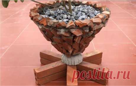Уличный вазон из цемента и битого кирпича своими руками   Декорочка   Яндекс Дзен