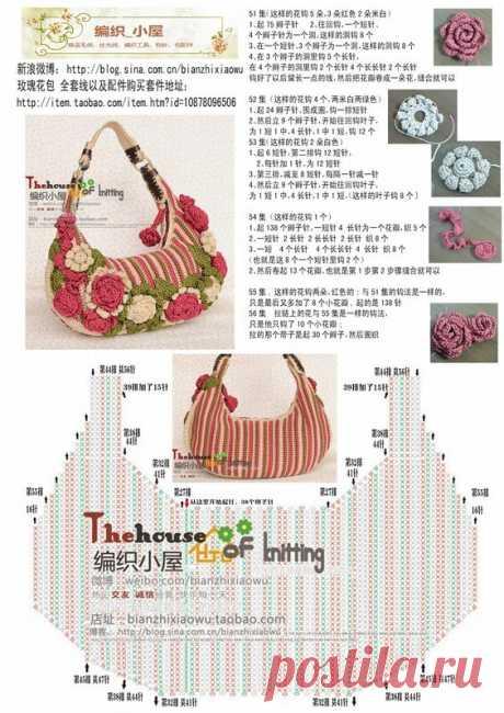 Как вязать крючком сумку с цветами