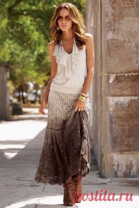 Длинные юбки вязанные крючком / Очаровательная ажурная юбка крючком!