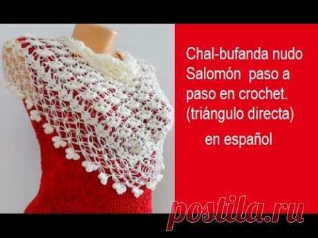 Chal bufanda nudo Salomón  paso a paso en crochet  triángulo directa chal #39
