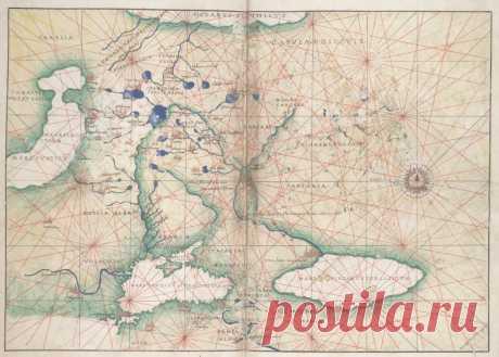 «Карта Московии, составленная по рассказу посла Димитрия».  Морская карта (лист 17) из атласа 1553 г. Баттисты Аньезе. «Посол Деметрий Эразмий» — под такой латинизированной версией имени был известен Дмитрий Герасимов в Италии, которого Василий III отправил п…