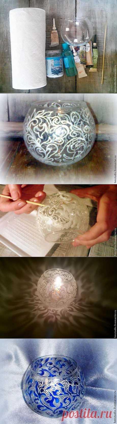 Морозный узор на вазе | Самоделкино