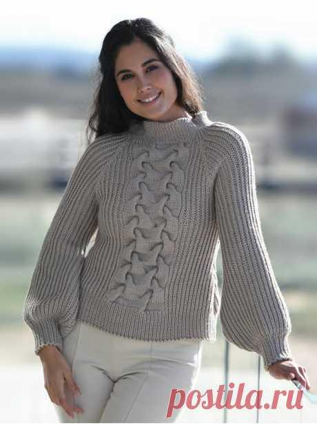 Пуловер реглан с крупной косой посередине - Cтильное вязание