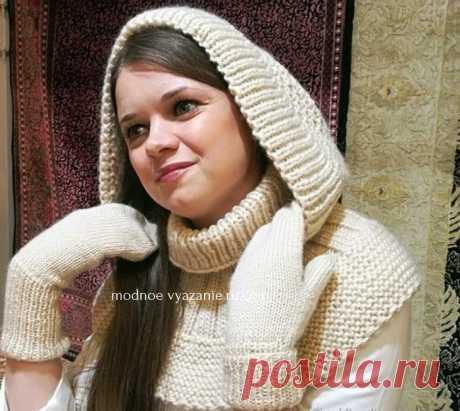 Воротник капюшон вязаный спицами - Klubok - Modnoe Vyazanie.ru.com