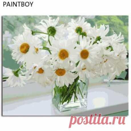 PAINTBOY оформлена фотографии Цветы DIY картина маслом живопись по номерам ручная роспись на холсте Home Decor купить на AliExpress