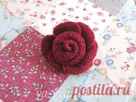 Роза - вязаный цветок спицами (мастер-класс) | Вязальное настроение...