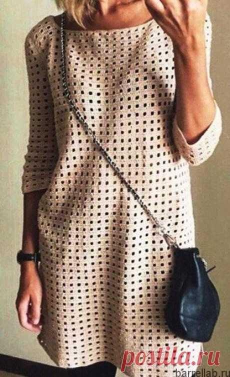 Летнее платье-туника крючком. Платье узором сетка |
