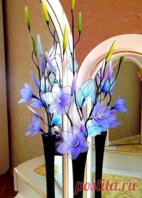 Яркие цветы из капрона: идеи — DIYIdeas