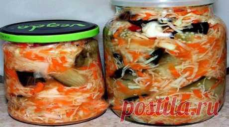 Рецепт маринованной капусты быстрая с баклажанами