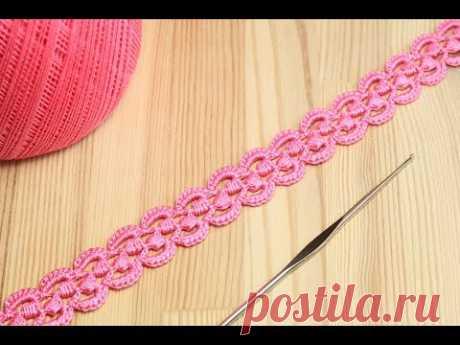 Ленточное кружево с витыми столбиками - вязание крючком How to Crochet for Beginners - YouTube