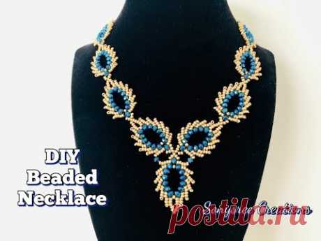 Peacock Feather Beaded Necklace    St Petersburg Stitch    Beaded Leaves