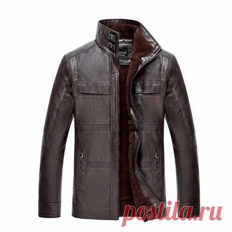 Мужская куртка из искусственной кожи с воротником-стойкой, бархат, более плотное теплое зимнее пальто, размер верхней одежды - US $ 84,84