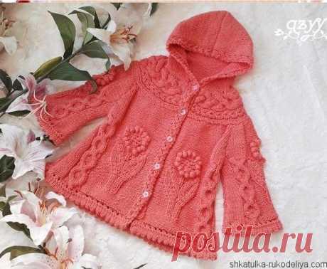 Пальто девочке вязаное спицами Пальто девочке вязаное спицами с растительным узором. Пальто с капюшоном для девочки схемы