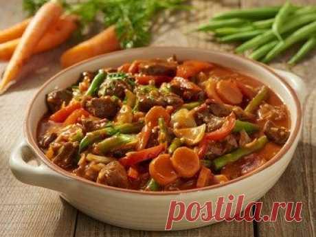 Гуляш с зеленой фасолью и овощами - простой и вкусный рецепт с пошаговыми фото