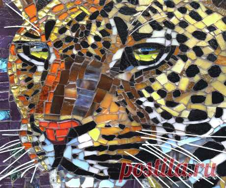 Leopard Glass Art  by Cynthie Fisher Leopard Glass Art  Sculpture by Cynthie Fisher