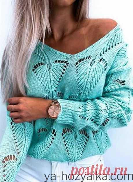 Стильный свитер с V-образной горловиной